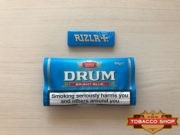 Живое фото пачки табака для самокруток DRUM Bright Blue 50g Duty Free