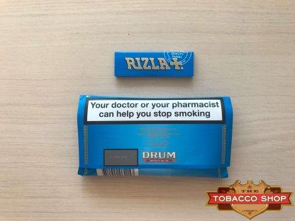 Живое фото пачки табака для самокруток DRUM Bright Blue 50g Duty Free
