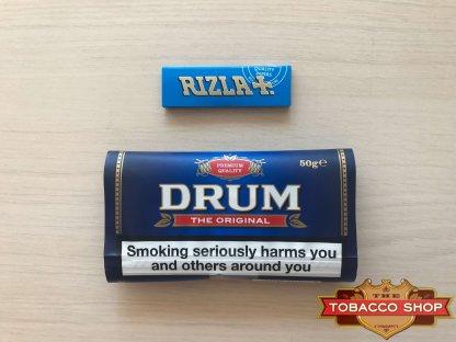 Живое фото пачки табака для самокруток DRUM Original 50g Duty Free